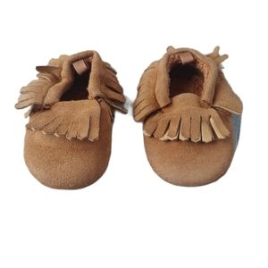 Moccasins with Fringe, Faux Suede, Brown, 4